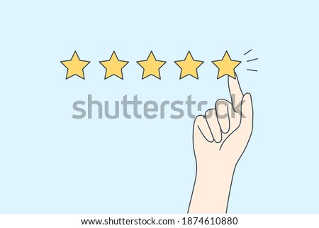 Excellent rating, perfect service and customer feedback concept. Hyman hand showing five star excellent rating with client experience on blue background vector illustration