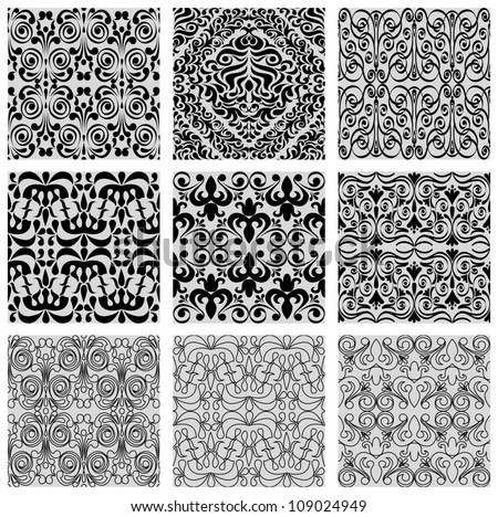 Excellent seamless floral background, set of geometrical patterns, vector illustration