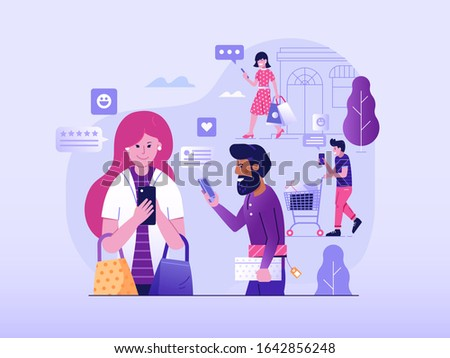 Excellent user experience customer satisfaction concept with people enjoy mobile shopping and share five star reviews. Positive experience marketing illustration with happy clients giving feedback. Stock photo ©