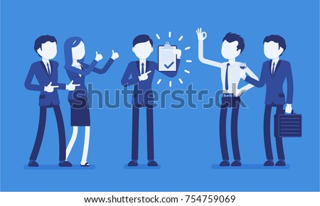 Excellent work award. Office acknowledges the worker who makes the most impact, promoting great results and personal, professional goals. Business style vector concept illustration