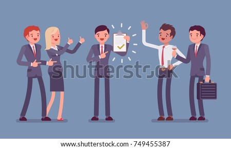 Excellent work award. Team of office workers congratulating employee, appreciating efficient impact to project, done a good job. Vector flat style cartoon illustration isolated on blue background