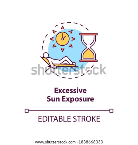 Excessive sun exposure concept icon. Danger of tanning and sunbathing. Sunstroke. UV light idea thin line illustration. Vector isolated outline RGB color drawing. Editable stroke Stock photo ©