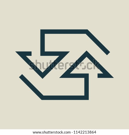 Exchange and convert icon. Arrow, trade, return. Vector illustration.