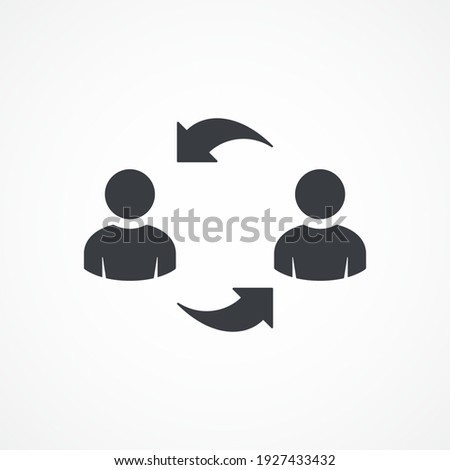Exchange, arrows icon. Replacement, worker, arrow, business icon. Experience exchange icon. User switch. Employee or people Replacement or swap position concept. Photo stock ©