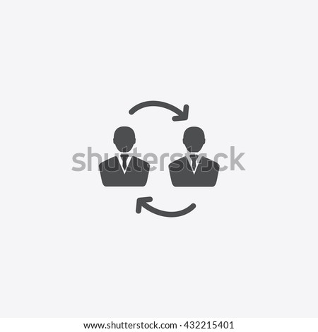 Exchange between two men and  people cycle icon vector on isolated background in business