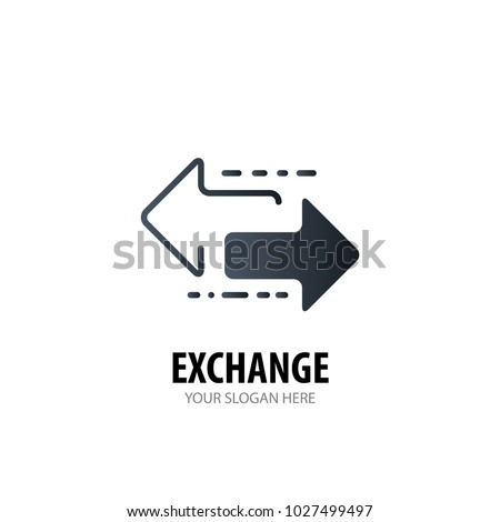 Exchange logo for business company. Simple Exchange logotype idea design. Corporate identity concept. Creative Exchange icon from accessories collection.