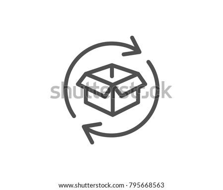 Exchange of goods line icon. Return parcel sign. Package tracking symbol. Quality design element. Editable stroke. Vector