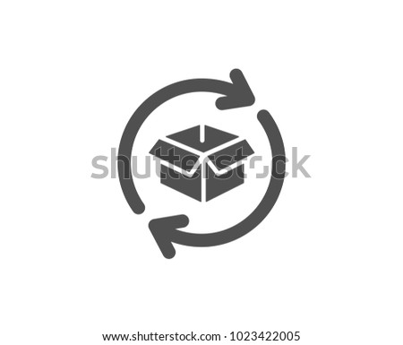 Exchange of goods simple icon. Return parcel sign. Package tracking symbol. Quality design elements. Classic style. Vector