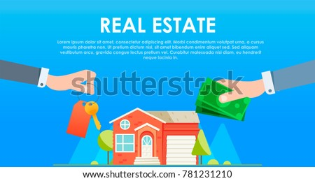 Exchange of money for the keys to the house. Sale and rent of apartment. Hand with Cash payment. Vector flat illustration
