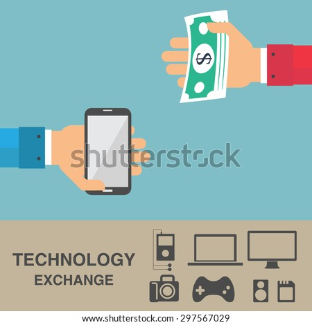 Exchange technology and money, business idea concept with icon set, vector