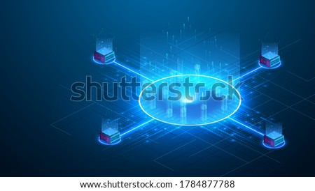 Exchanging cryptocurrency via portals. Blockchain technology theme. Binary digital code passing through an open circular neon glowing futuristic portal on blue background.Isometric vector illustration