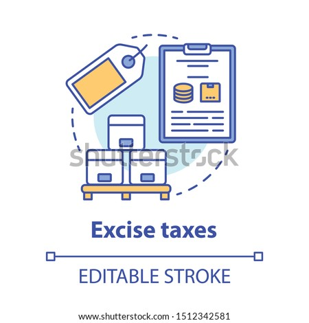 Excise taxes concept icon. Legislated taxation on specific goods idea thin line illustration. Tax levied on commodities, services and activities. Vector isolated outline drawing. Editable stroke