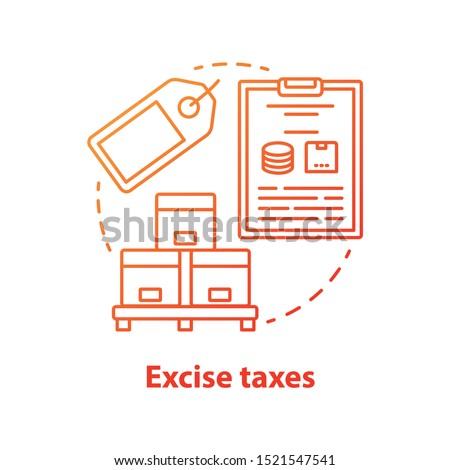 Excise taxes red concept icon. Legislated taxation on products idea thin line illustration. Tax levied on commodities, services and activities. Finance fee. Vector isolated outline drawing