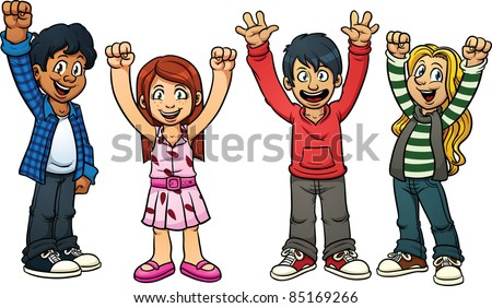 Excited cartoon kids vector illustration with simple gradients each