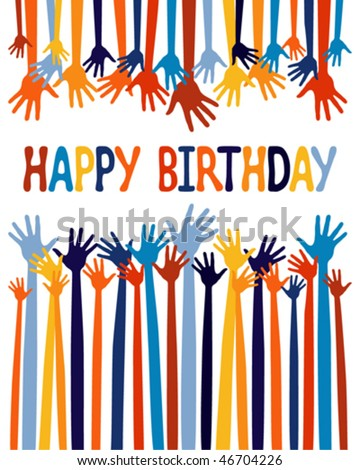 Excited Hands Birthday Card Design. Stock Vector 467042