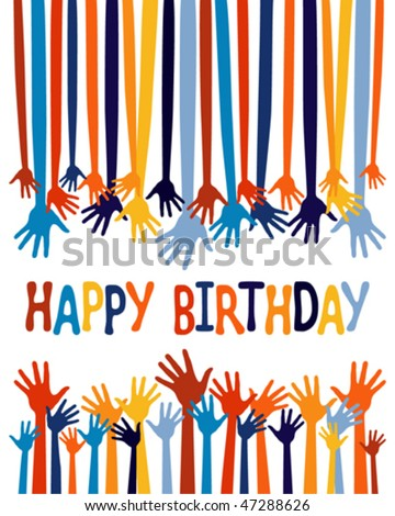 Excited Hands Birthday Card Design. Stock Vector 472886