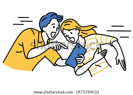 Excited man holding digital tablet, pointing with showing to woman. The couple are surprised with something special on screen. Outline, linear, thin line art, hand drawn sketch design, simple style.  Foto stock ©