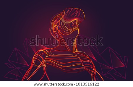 Excited man wearing virtual reality goggles. Abstract polygonal vr world. Vector illustration