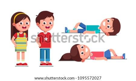 Excited preschool boy and girl standing. Smiling schoolboy and schoolgirl resting and lying on ground. Happy children cartoon characters set. Flat vector illustration isolated white background