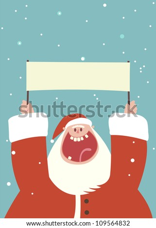 excited Santa Claus character waving a sign with mouth open