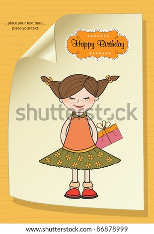 excited young girl she hide a special gift