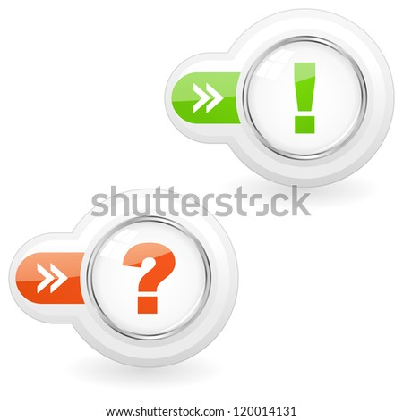 Exclamation and question vector buttons.