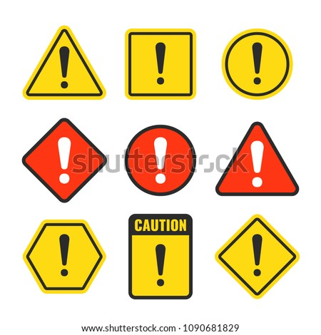 Exclamation mark beware icons. Attention and caution signs. Hazard warning vector symbol isolated. Illustration of danger and beware symbol, attention risk