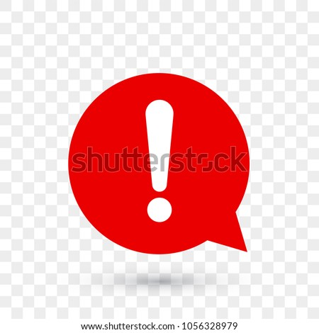 Exclamation mark for warning or attention vector icon in red chat bubble with shadow on transparent background Foto stock ©