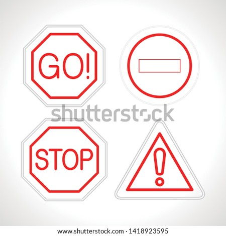 Exclamation mark go sto traffic neon signs set. eps 10. vector