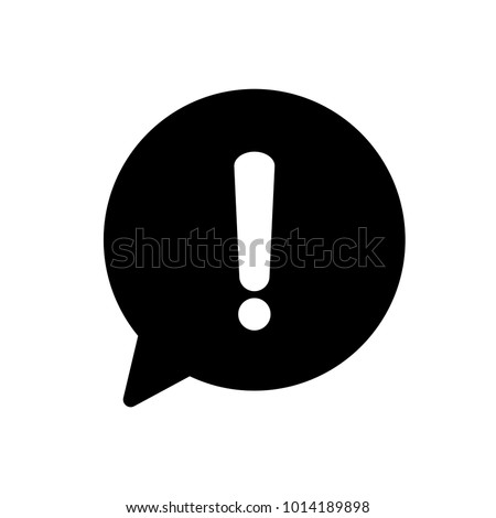 Exclamation mark. Hazard warning symbol. Danger warning attention sign in a speech bubble. Flat design style vector illustration