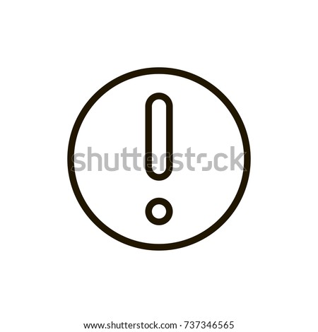 Exclamation mark icon flat icon. Single high quality outline symbol of info for web design or mobile app. Thin line signs of technology for design logo, visit card, etc. Outline logo of mark