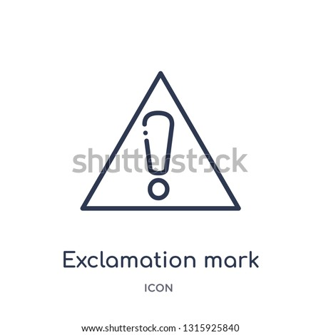 exclamation mark icon from signs outline collection. Thin line exclamation mark icon isolated on white background.