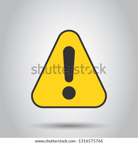 Exclamation mark icon in flat style. Danger alarm vector illustration on white background. Caution risk business concept. #1316575766