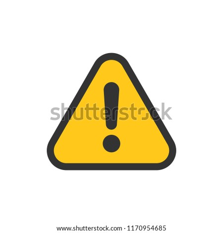 Exclamation mark icon in flat style. Danger alarm vector illustration on white isolated background. Caution risk business concept. #1170954685