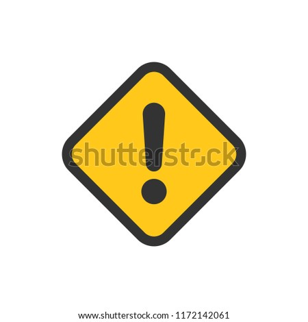 Exclamation mark icon in flat style. Danger alarm vector illustration on white isolated background. Caution risk business concept. #1172142061