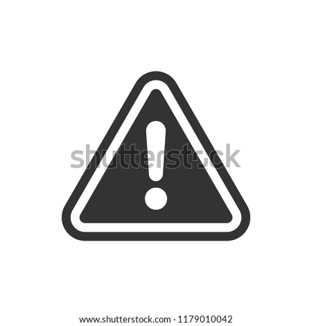 Exclamation mark icon in flat style. Danger alarm vector illustration on white isolated background. Caution risk business concept.
