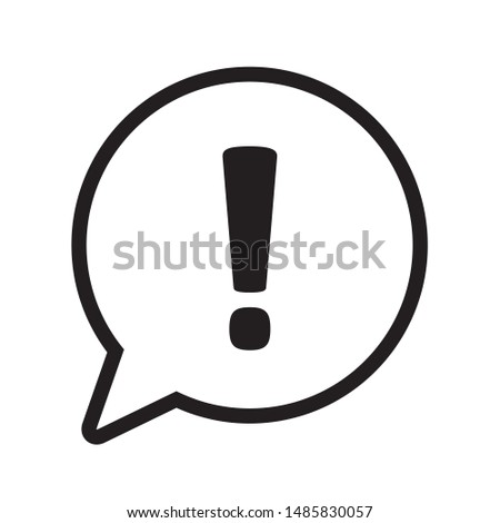 Exclamation mark in speech bubble, Exclamation mark icon vector Stock photo ©