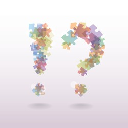 exclamation mark question mark from the pieces of puzzle - illustration