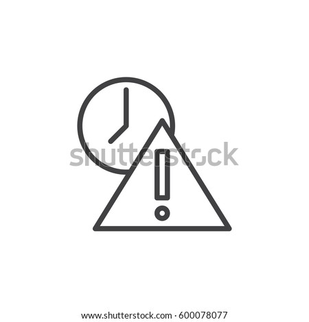 Exclamation point and clock line icon, outline vector sign, linear style pictogram isolated on white. Expired symbol, logo illustration. Editable stroke. Pixel perfect