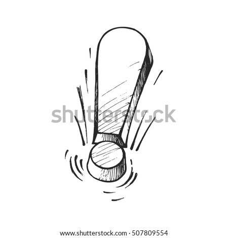 Exclamation point, symbol of thoughts, a sketch by hand in a vector format