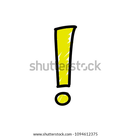 Exclamation point. Vector image in a cartoon style. Isolated on white background black and yellow exclamation mark.