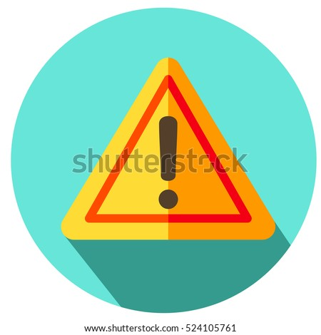 Exclamation sign, danger sign, under construction flat style colorful.