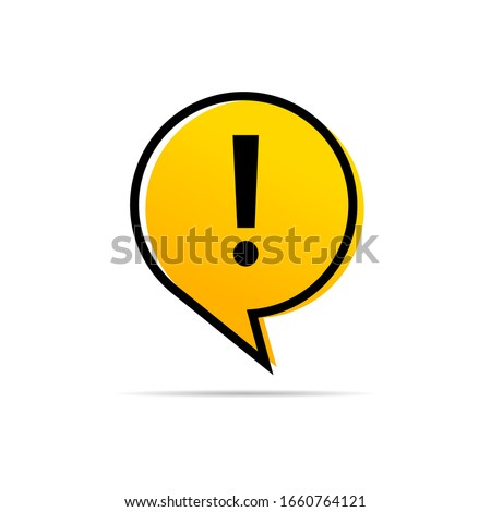 Exclamation  warning attention symbol in a yellow message bubble icon vector in flat style isolated on white eps 10  商業照片 ©