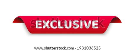 exclusive banner template. exclusive ribbon label sign Photo stock ©