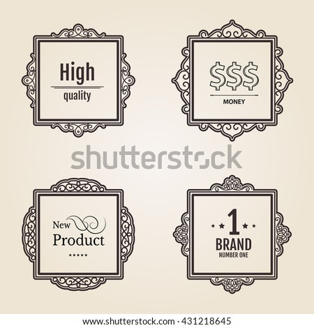 Exclusive decor elements or shape for business. Vintage frame in set. Vector page decoration. Decoration for business, wedding album or restaurant menu.
