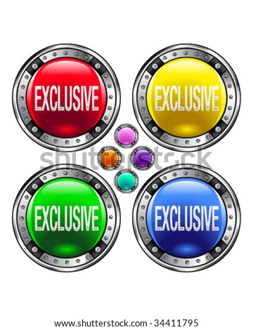 Exclusive icon on round colorful vector buttons suitable for use on websites, in print materials or in advertisements.  Set includes red, yellow, green, and blue versions.