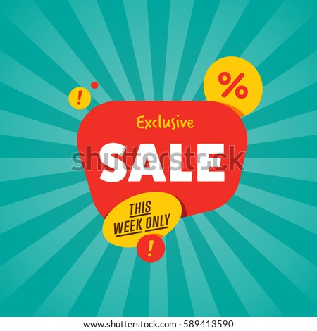 Exclusive sale sticker isolated vector illustration. This week only offer tag, price discount promotion, super offer ad, advertisement retail label, special shopping symbol. Modern style sale banner