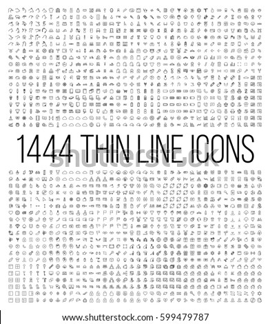 exclusive 1444 thin line icons
