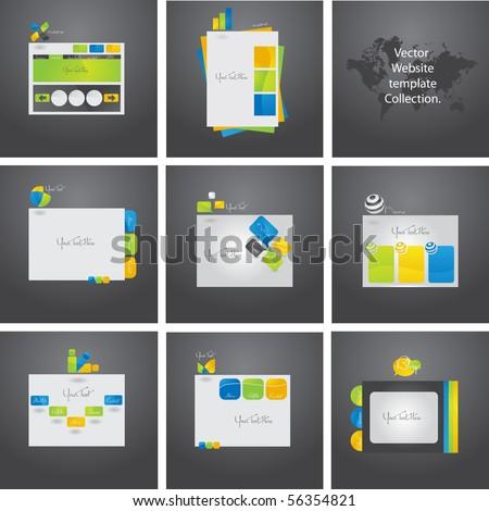 Exclusive vector set of eight website templates.