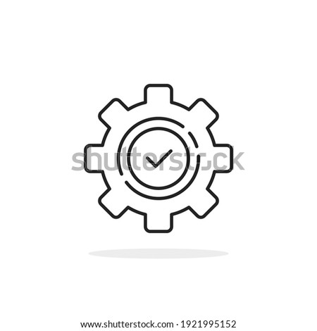 execution logo like thin line gear with checkmark. flat linear trend modern production logotype graphic stroke art design isolated on white. concept of implement productivity or problem solution ストックフォト ©